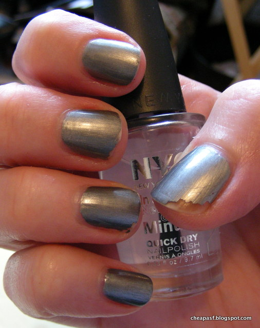 ULTA Scene Steel-er nail polish with NYC In a New York Minute Grand Central Station as topcoat.