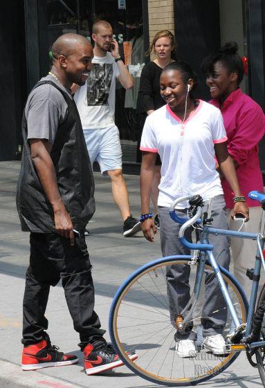 promo code 81f19 0ebf7 Celeb Sneaker Game: Kanye West Rocking Air Jordan 1 Sneakers