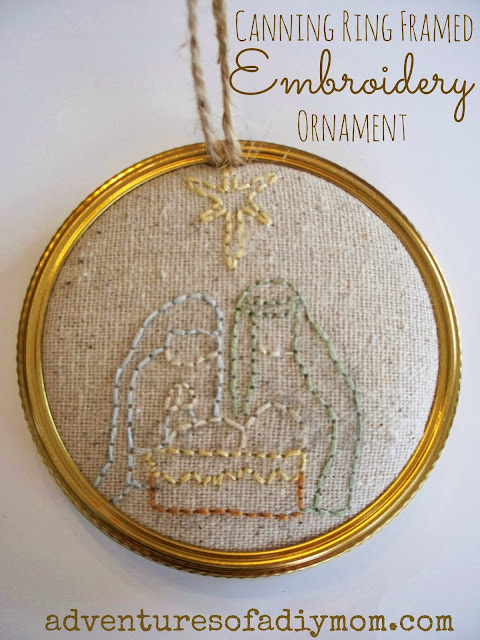 Canning Ring Framed Embroidered Ornament
