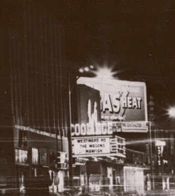 Coolidge Corner Theatre at night, 1956, with billboard