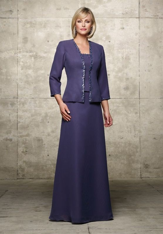 f0c1120b55 Chiffon and Satin Square A-line Long Mother Of The Bride Dress with  Matching Jacket