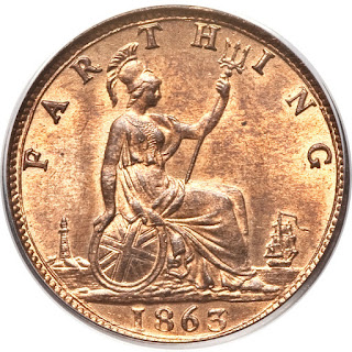 British Coins Farthing 1863 Seated Britannia