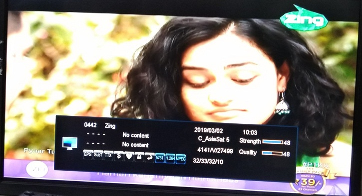 Zing Hindi GEC Channel free to air from Asiasat 7 satellite - Free
