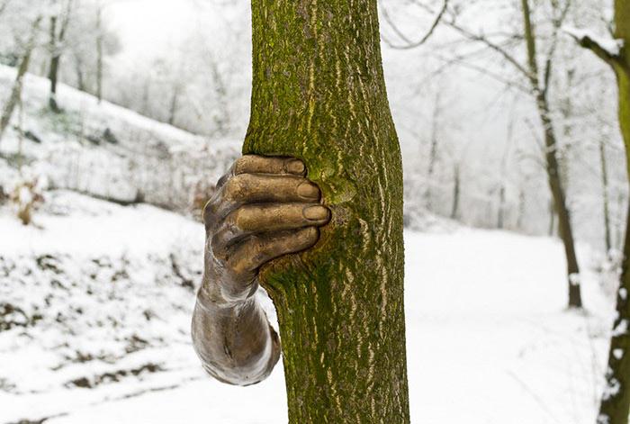 Esta escultura de bronce fue unido a un árbol en 1968, mirarlo ahora