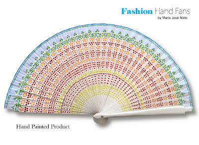Cool, elegant and nice design with dotted flowers on white. ~ Fashion Hand  Fans