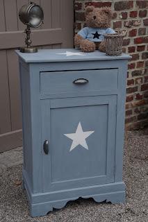 chevet-confiturier-pour-enfant-gris étoile-blanche