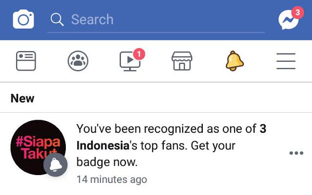 pemberitahuan badge top fan halaman facebook