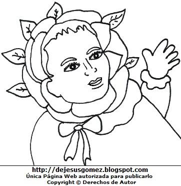 Imagen de Santa Rosa de Lima de bebé para colorear o pintar. Dibujo de Santa Rosa de Jesus Gómez