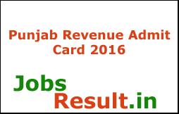Punjab Revenue Admit Card 2016