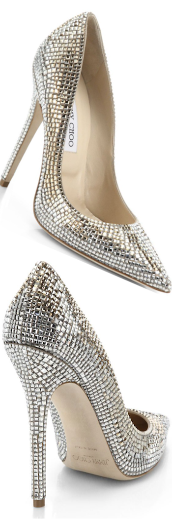 Jimmy Choo Tartini Square Pavé Crystal & Suede Pumps