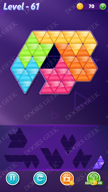 Block! Triangle Puzzle Intermediate Level 61 Solution, Cheats, Walkthrough for Android, iPhone, iPad and iPod