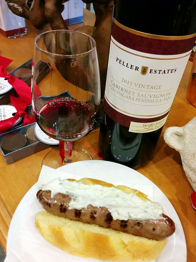 Peller Estates Private Reserve Cabernet Sauvignon 2015 (88 pts) with house-made lamb and balsamic mint sausage