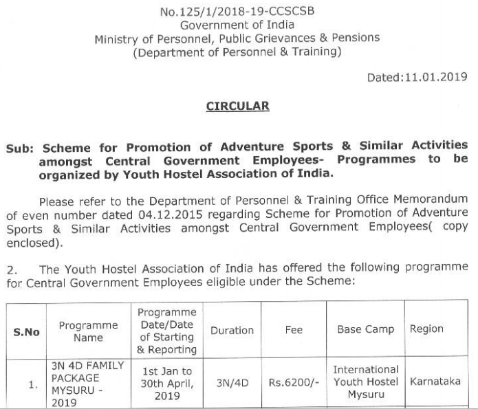 SCHEME FOR PROMOTION OF ADVENTURE SPORTS & SIMILAR ACTIVITIES AMONG CENTRAL GOVT EMPLOYEES