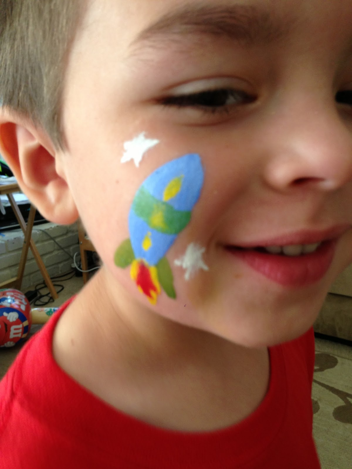 rocket ship face painting boys | Face Painting | Pinterest