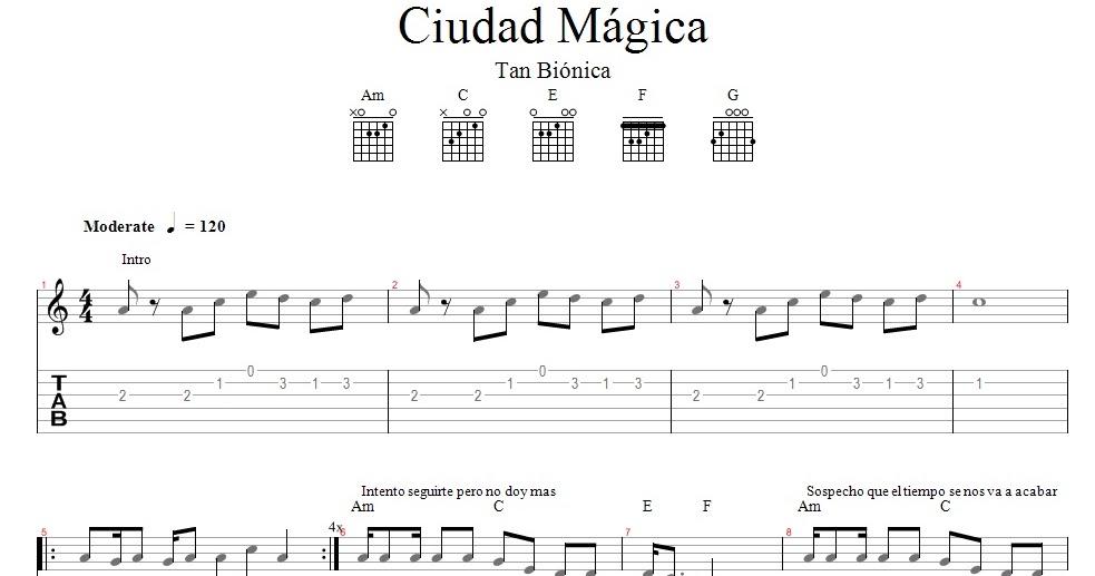 Partituras Para Guitarra Tan Biónica Ciudad Mágica
