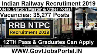 Railway Jobs in India for 35277 Clerk, Station Masters - RRB NTPC Recruitment 2019