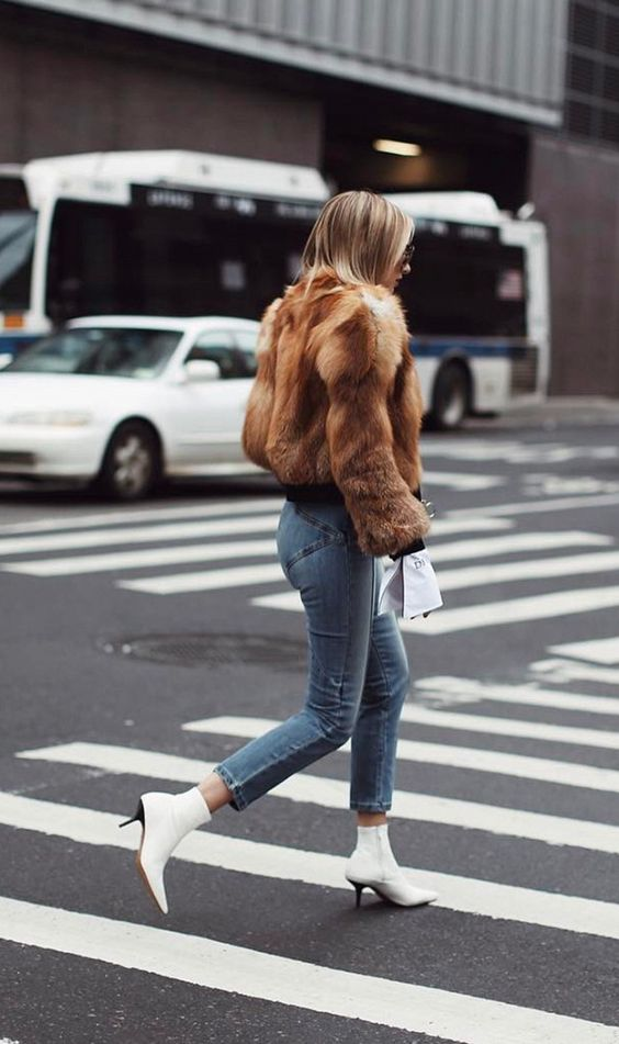 We Wore What Faux Fur Coat White Ankle Boots Blogger street style