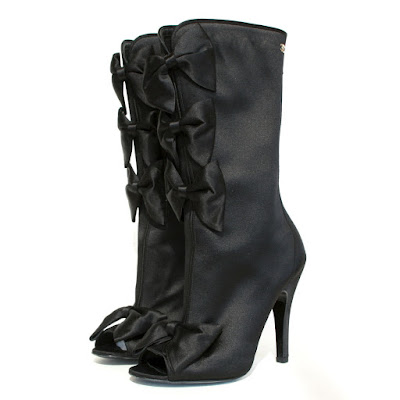 chanel silk satin bow boots