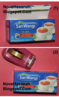 cara membuat atau langkah-langkah pembuatan kotak pensil dari bekas kemasan teh celup dan potongan-potongan ornamen kartu undangan 2