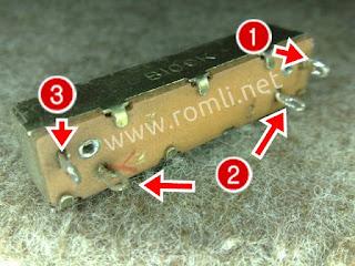 Potensiometer geser 4 pin mono