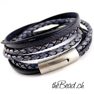 blaues lederarmband für männer und herrenarmbänder