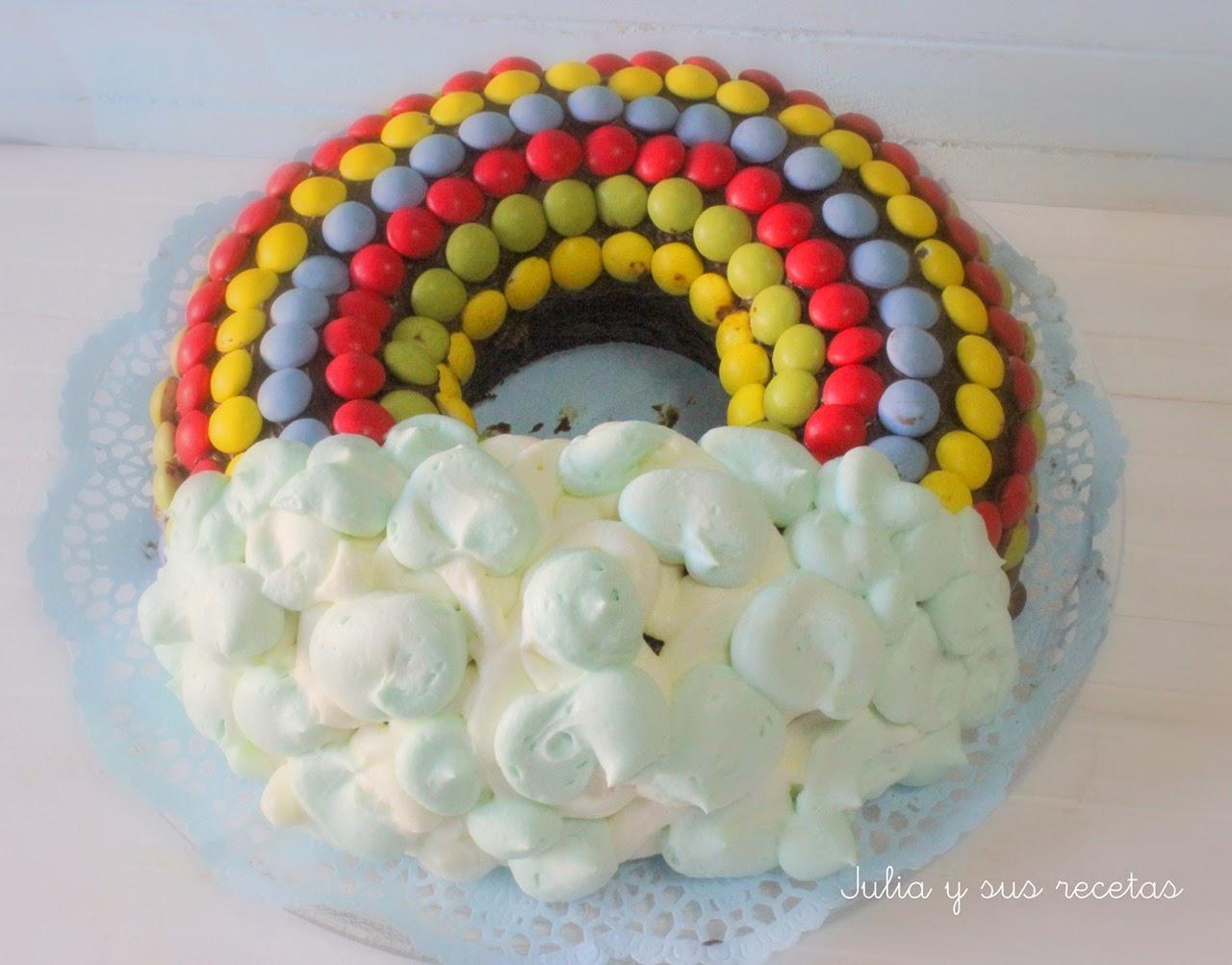 Tarta arco iris. Julia y sus recetas