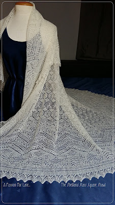 floor length hand knit lace wedding veil