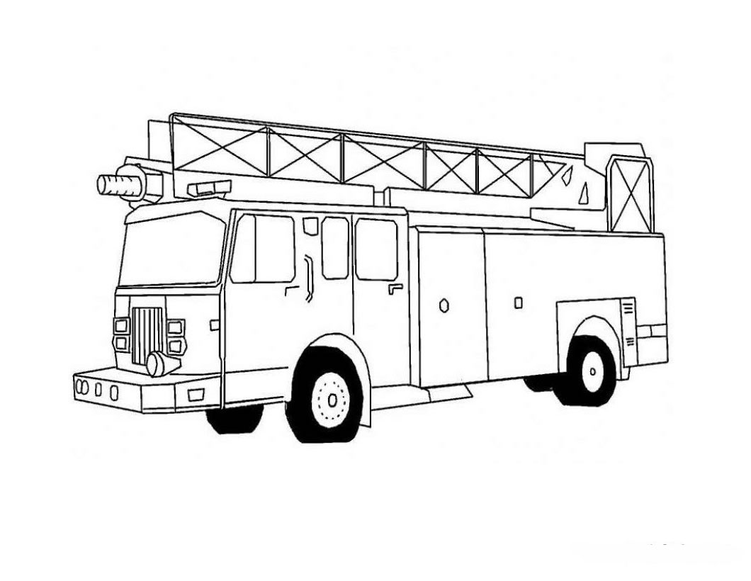 unique comics animation fire truck coloring pages