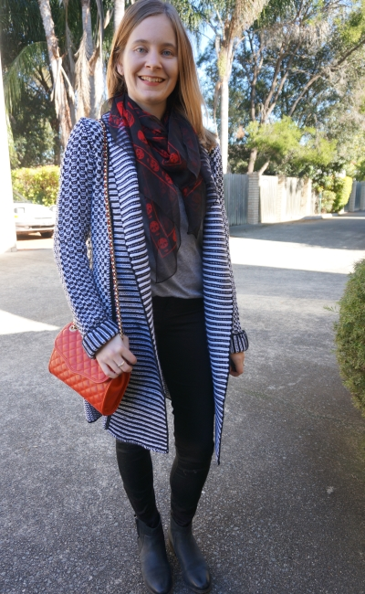 Red accessories with neutral black grey outfit winter wool cardigan