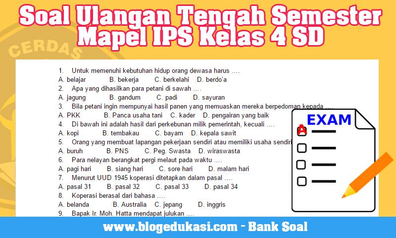 Soal Ulangan Tengah Semester Mapel IPS Kelas 4 SD