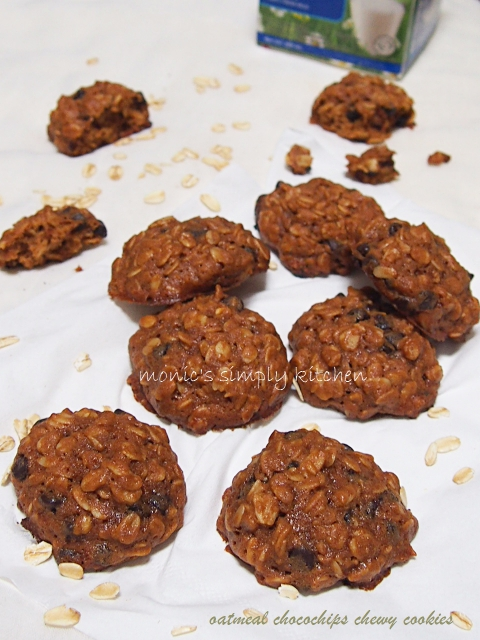 resep oatmeal chocochips chewy cookies