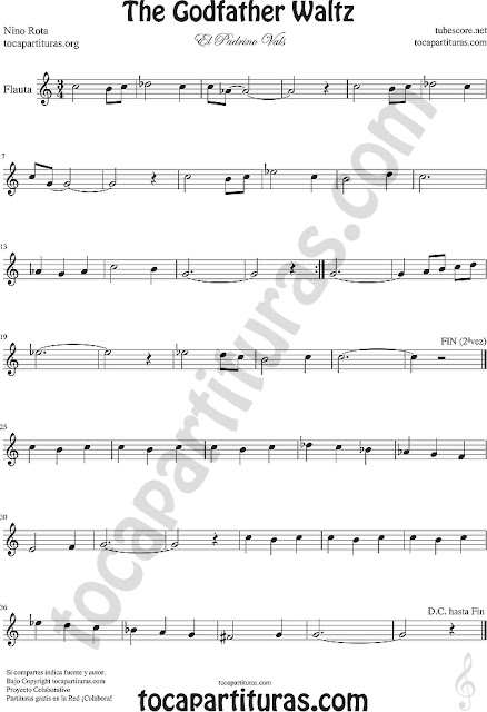 Flauta Travesera, flauta dulce y flauta de pico Partitura del Padrino Vals  Sheet Music for Flute and Recorder Music Scores