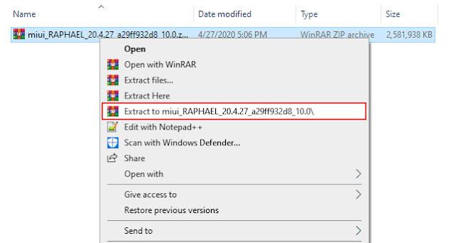 extract redmi k20 pro rom zip file