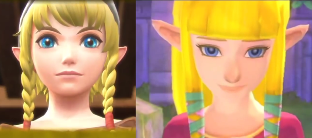 Linkle Hyrule Warriors Legends comparison to Zelda Skyward Sword side-by-side