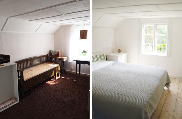 Renovering af soveværelse i ødegård. Fotos fra før og nu