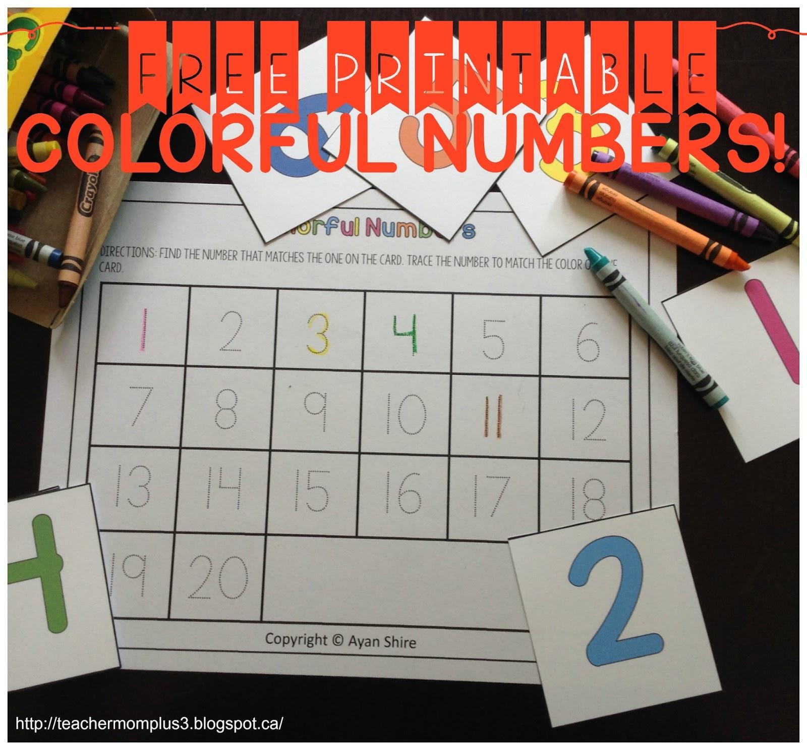 Teachermomplus3 Free Printable Number Recognition