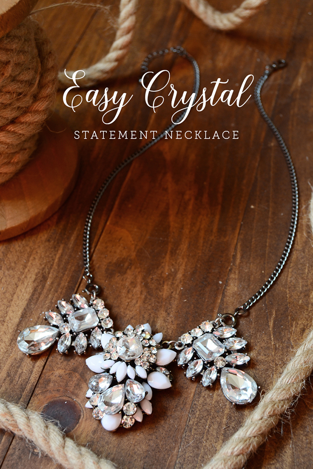 crystal statement necklace on wood rope