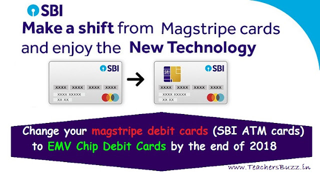 change your magstripe debit cards (SBI ATM cards) to EMV Chip Debit Cards by the end of 2018