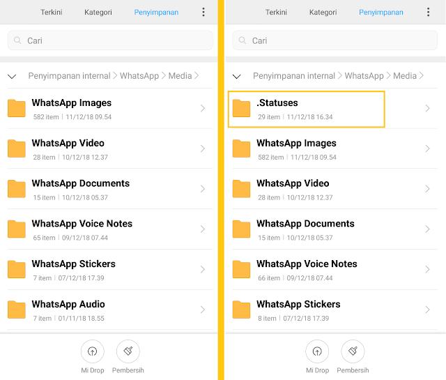 Tampilkan Berkas Tersembunyi di menu Setting || Download Video Story Whatsapp