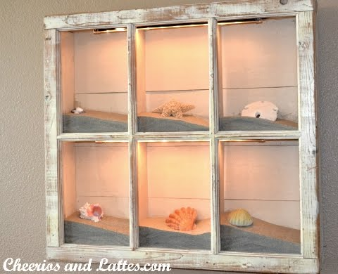 old window frame decor with lights