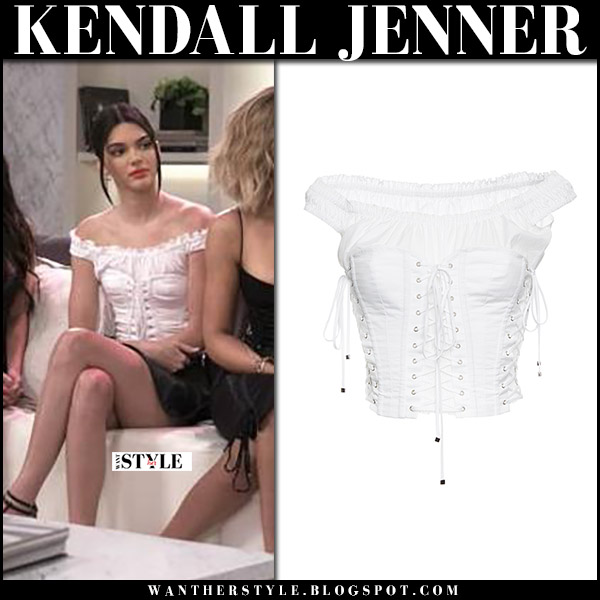 1f19a0bc266fa Kendall Jenner in white off shoulder corset top on Keeping Up With The  Kardashians 10th anniversary