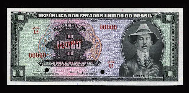Brazilian currency 10000 Cruzeiros banknote 1966 Alberto Santos-Dumont Brazilian aviation pioneer
