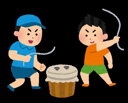 ベーゴマで遊ぶ子どもたちのイラスト
