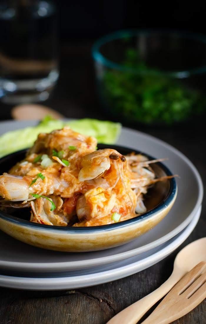 Delicious chilli prawns