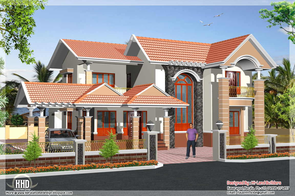 South indian 2 storey house kerala home design and floor for Indian house outlook design