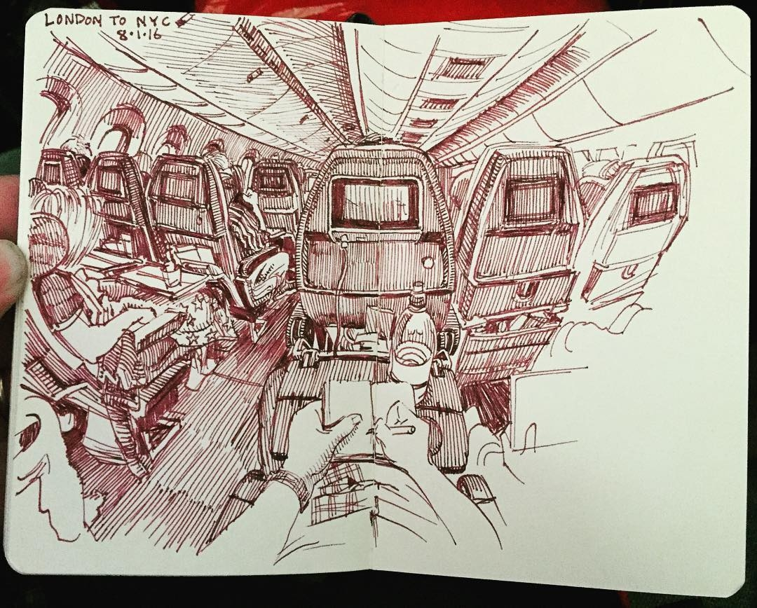16-On-the-Flight-Paul-Heaston-Urban-Sketcher-Inserts-Himself-in-the-Drawing-www-designstack-co