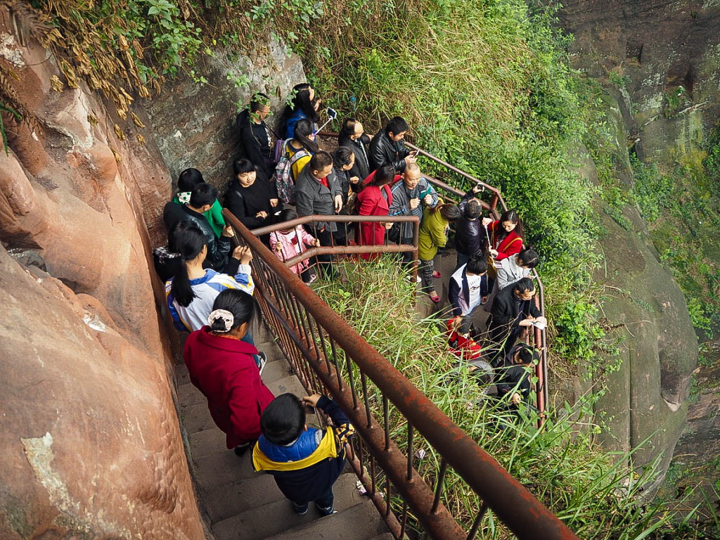 Crowds at Giant Buddha of Leshan, China