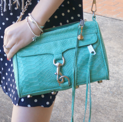 Away From the Blue personal style Rebecca Minkoff aquamarine mini MAC bag