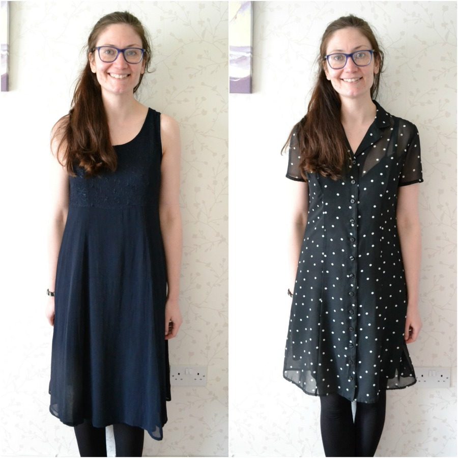 vintage dress charity shop polka dots M&S dorothy perkins smock style navy black white