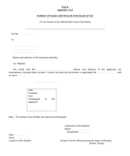 Format of Bank Certificate for Issue of IEC Code